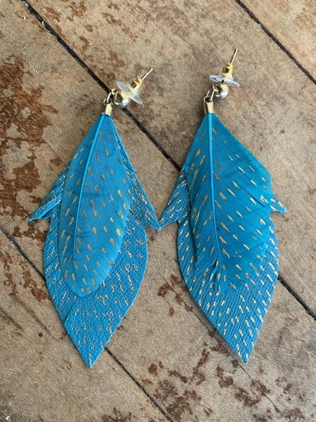 Teal and Gold Feather Fringe Earrings