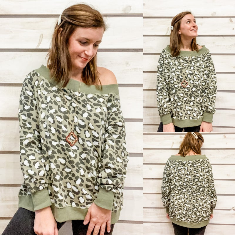 Animal Print Off Shoulder Sweatshirt Top *Final Sale*