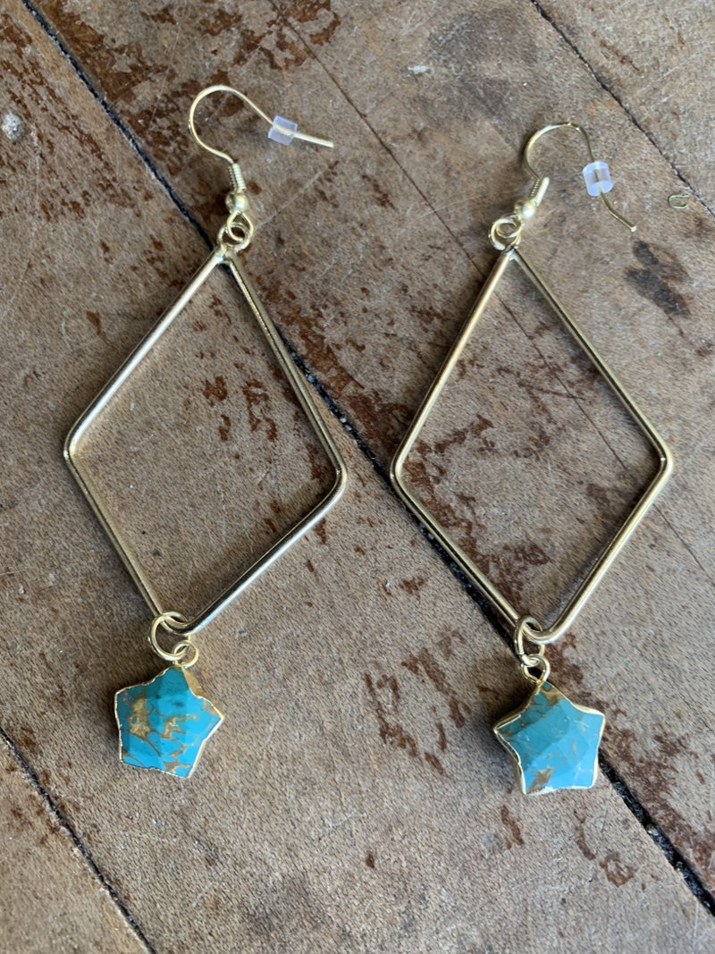 Teal and Gold Earrings with Stones