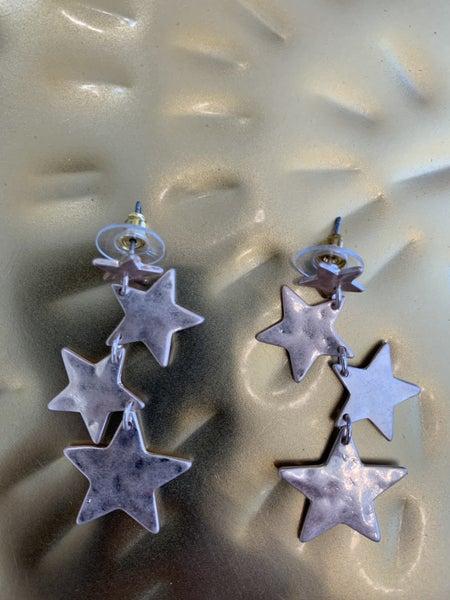 Gold Star Dangle Earrings