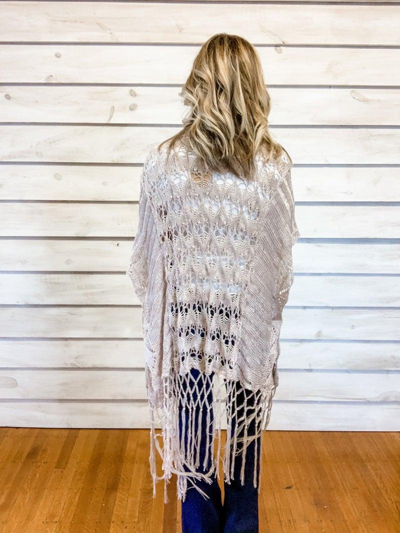 Taupe Crochet Fringe Kimono