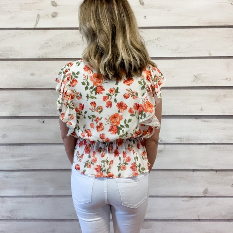 Ivory Floral Ruffle Surplice Top