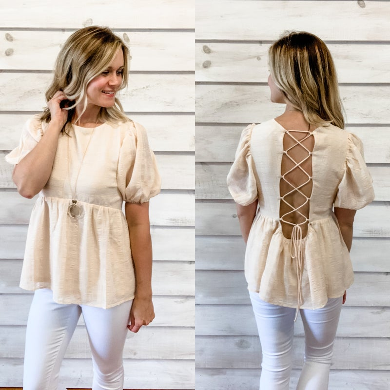 Beige Textured Lace Up Back Top