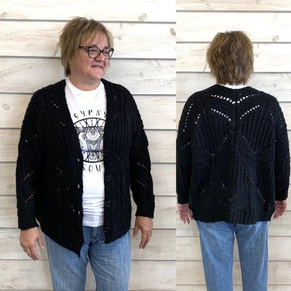 Black Chunky Knit Cardigan *Final Sale*