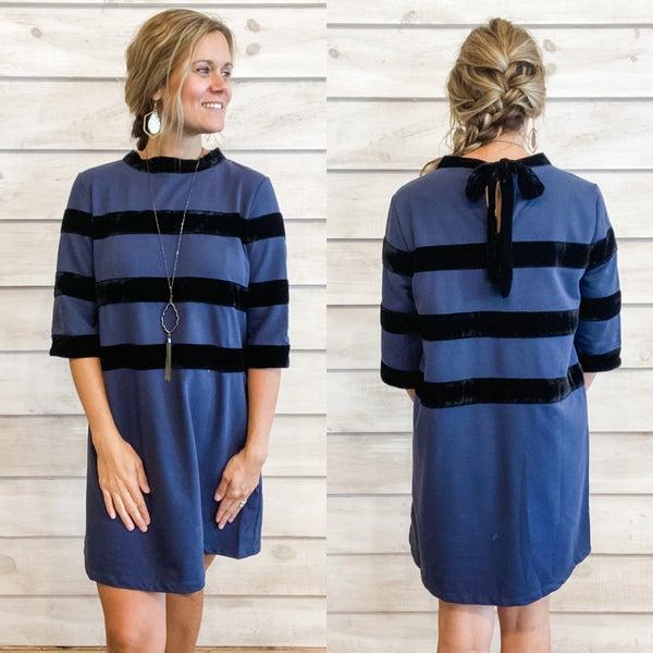 Navy Dress with Velvet Contrast