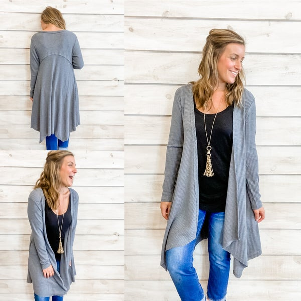 Grey Ribbed Cardigan *Final Sale*