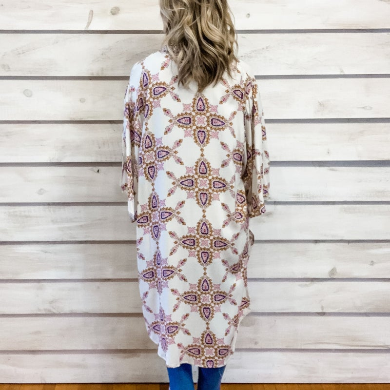 Ivory Paisley Flowy Boho Kimono
