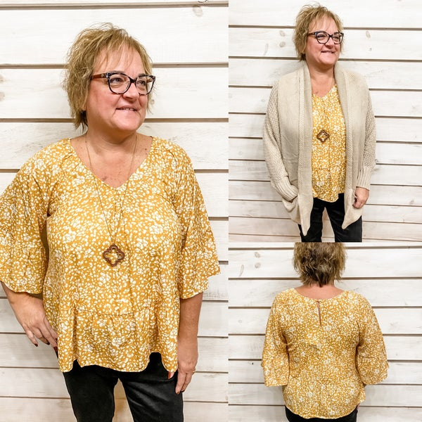 Mustard Floral Print Top with Flowy Sleeves *Final Sale*