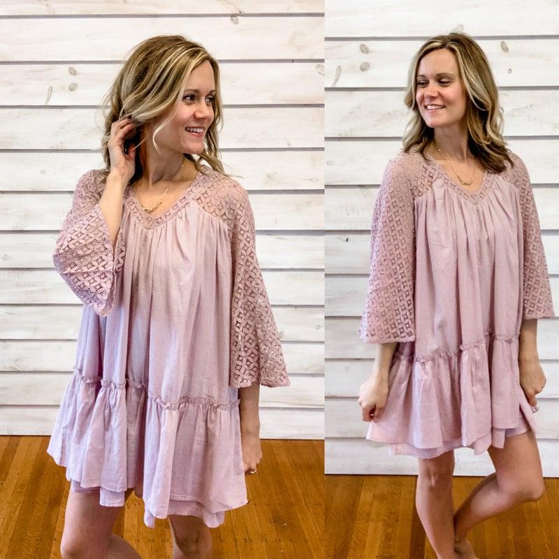 Mauve Lace Detail Dress