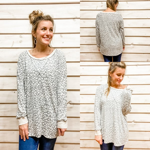 Grey Blue Animal Print Tunic Tee *Final Sale*
