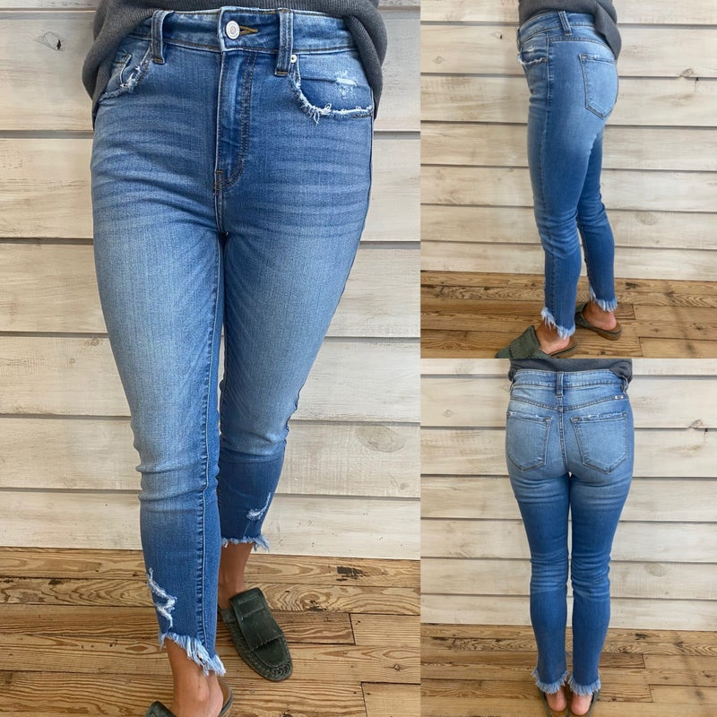 High Rise Skinny Jeans with Frayed Hem