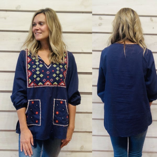 Navy Embroidered Top with Pockets