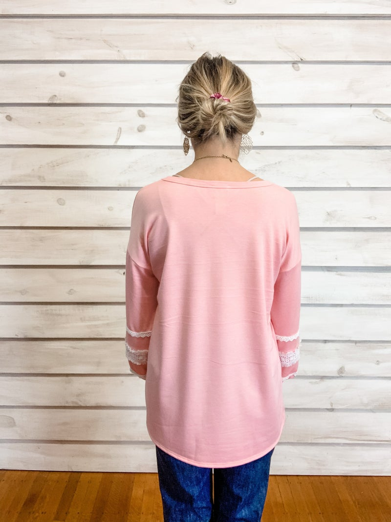 Blush Top with Crochet Details