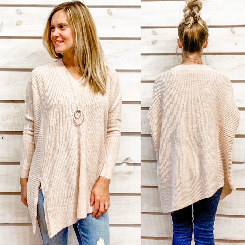 V Neck Side Zip Sweater