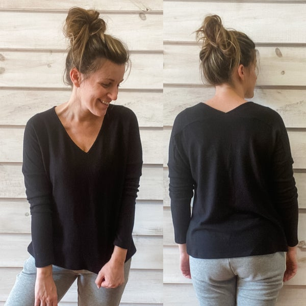 Super Soft Black V Neck Top *Final Sale*