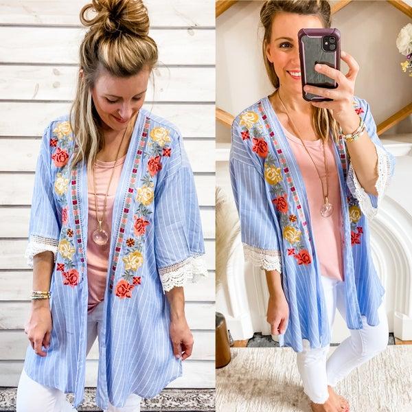 Blue Pin Stripe Kimono with Embroidery