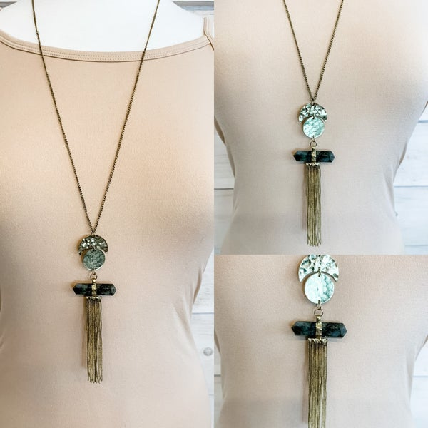 Antique Gold Chain Circle Tassel Necklace