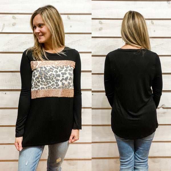 Black Contrasting Print Top with Sequins