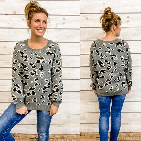 Super Cozy Grey Animal Print Sweater