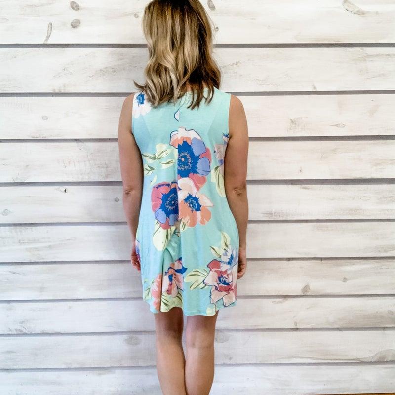 Mint Floral Swing Tunic Dress
