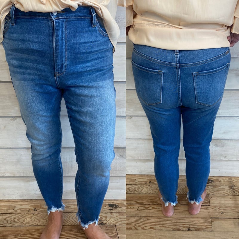 High Waisted Skinny Jeans with Frayed Hem