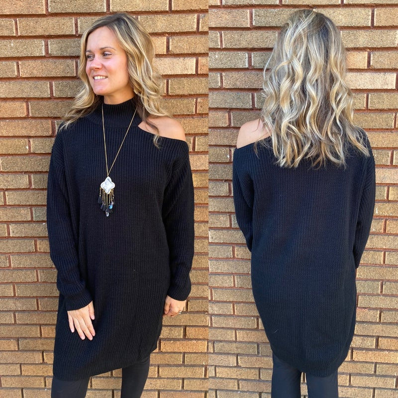 Cold Shoulder Sweater Tunic Dress
