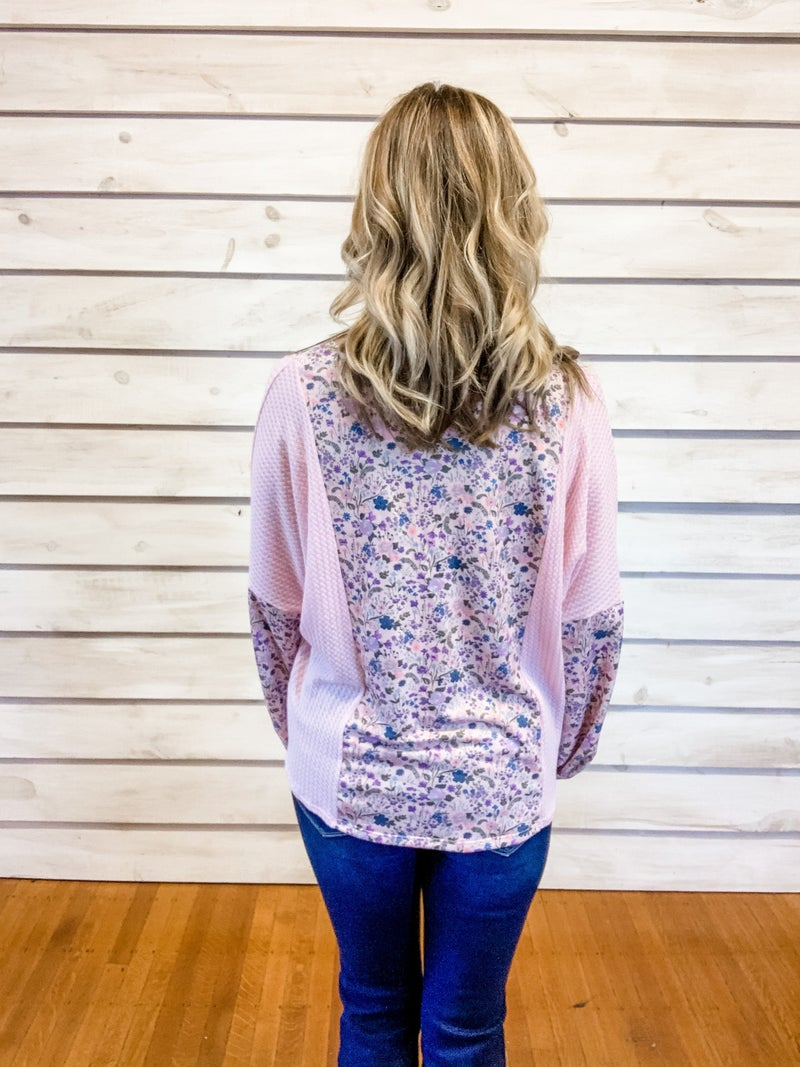 Pink Waffle Floral Top