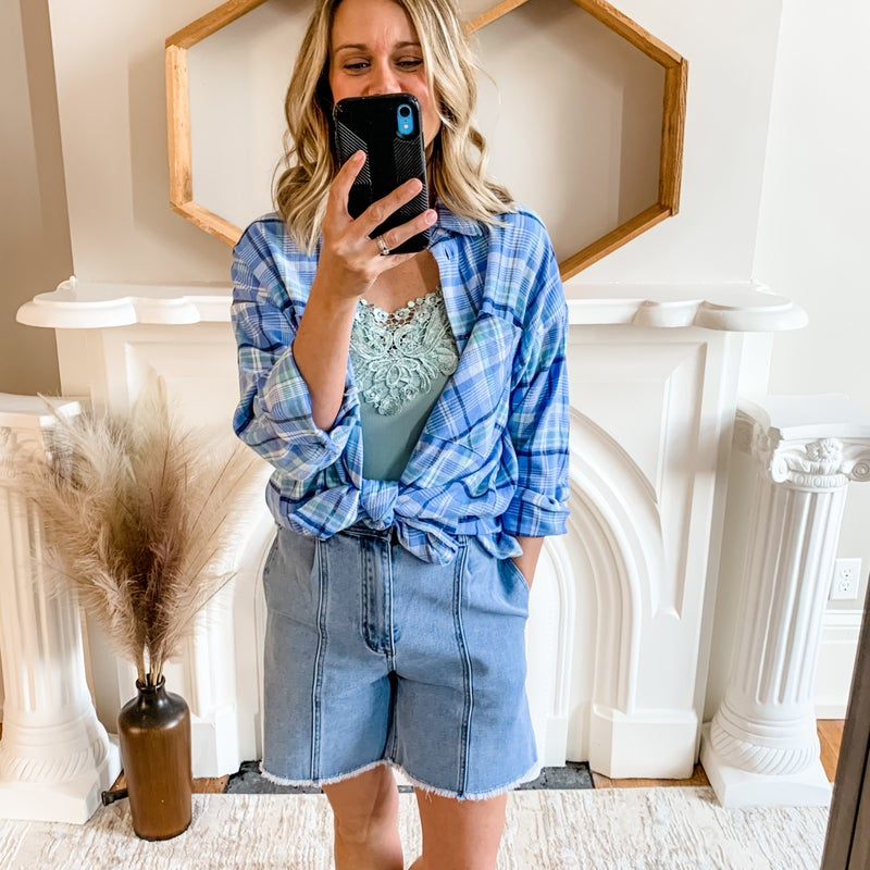 Blue Plaid Jacket Top