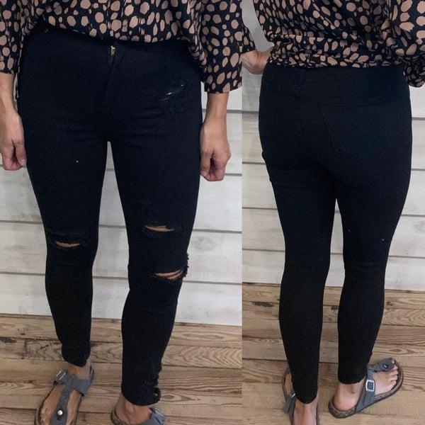 Black Distressed Jeans *Final Sale*