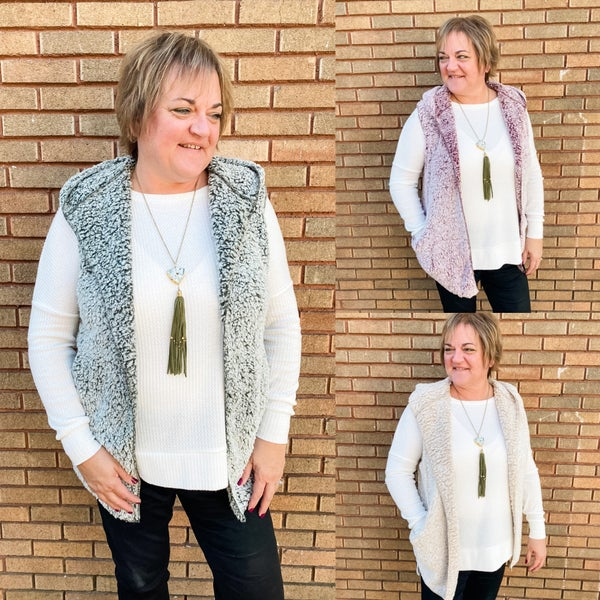 Sherpa Open Front Vest with Pockets