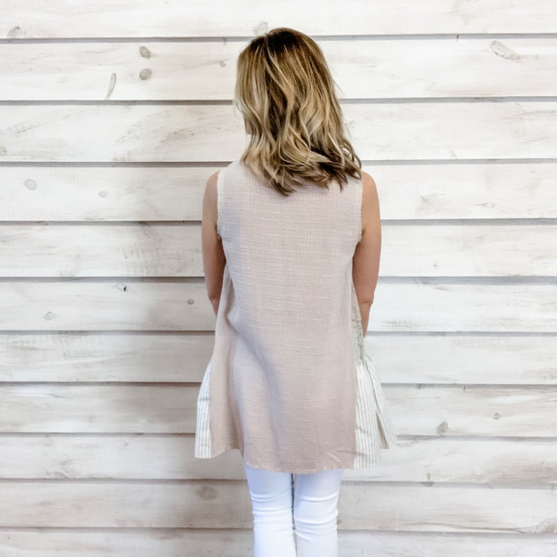 Taupe Textured Button Front Top