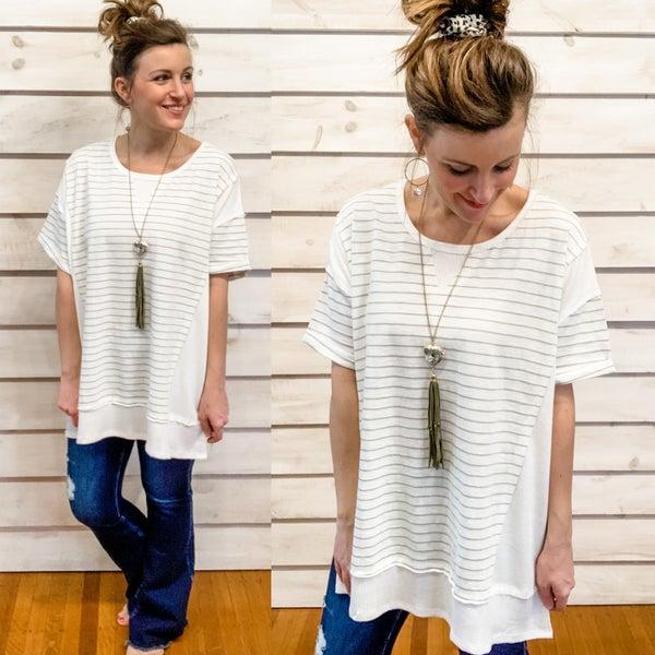 Sage Stripe Tunic Top