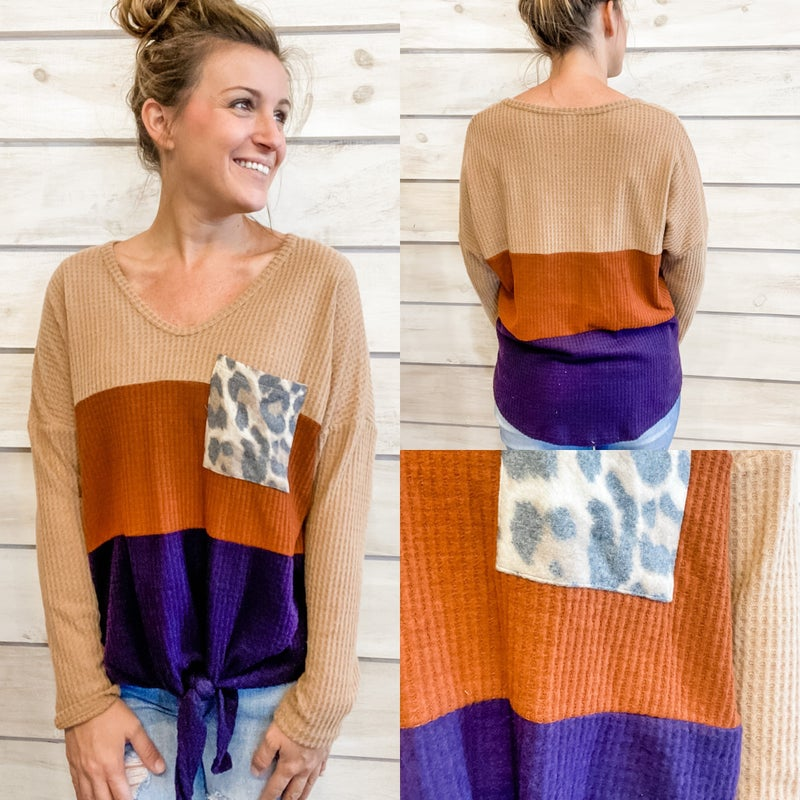 Cozy Waffle Knit Top with Animal Print Color Block *Final Sale*