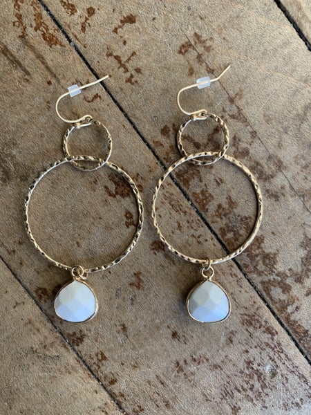 Gold and White Hoop Stone Earrings