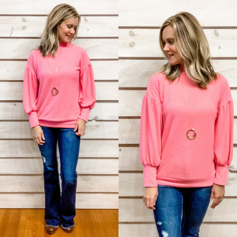 Pink Brushed Sweater with Puffy Sleeves