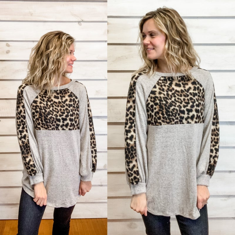 Super Soft Grey Tunic Top with Animal Print Details