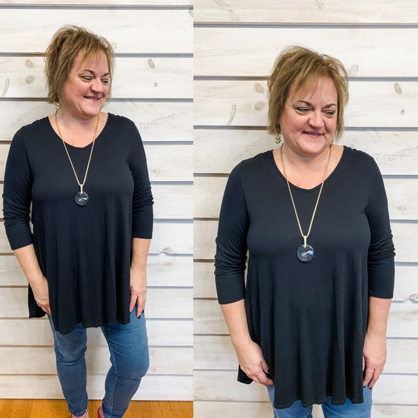 Black Scoop Neck Top with Back Crochet Detail