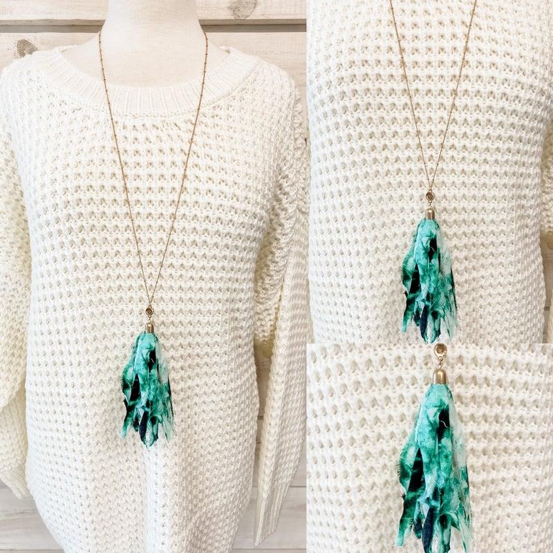 Green Tie Dye Tassel Necklace