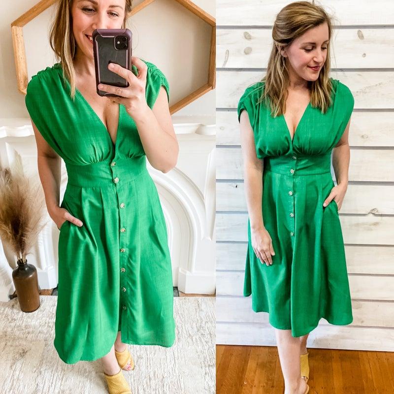 Green Classic Midi Dress