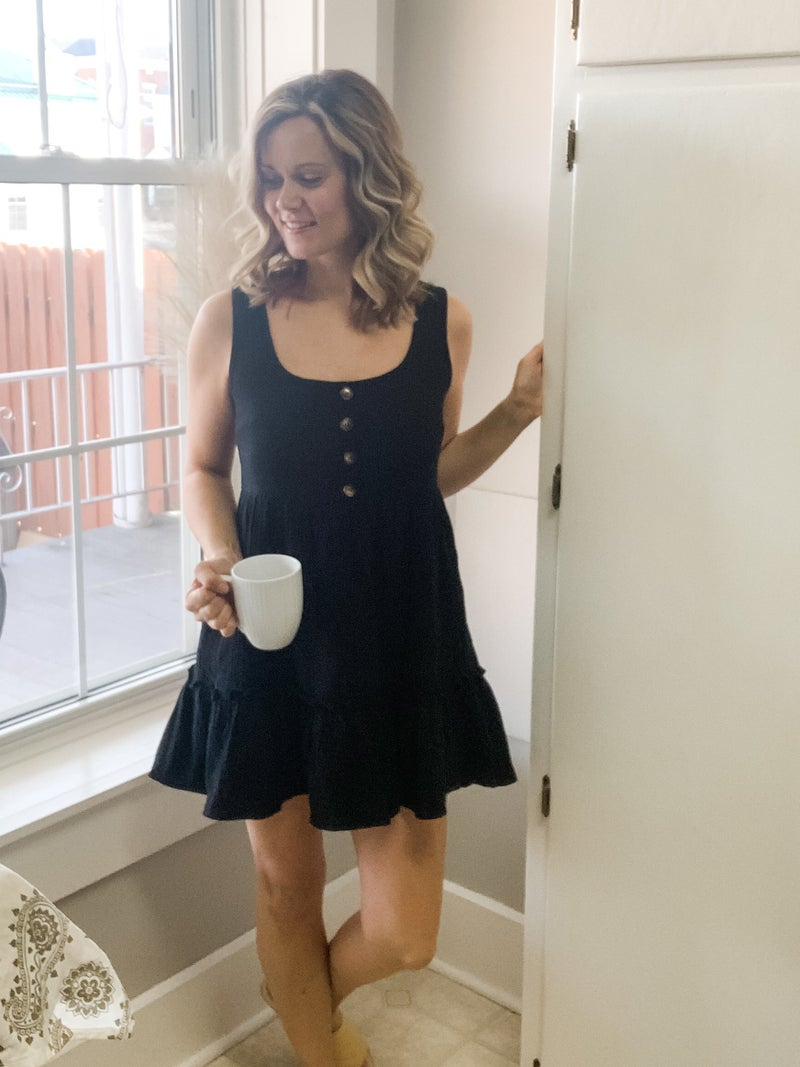 Black Button Tunic Tank Dress
