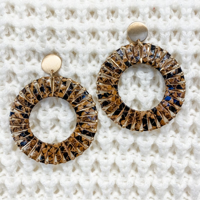 Gold Metal Hoop Earrings with Brown Printed Leather Detail
