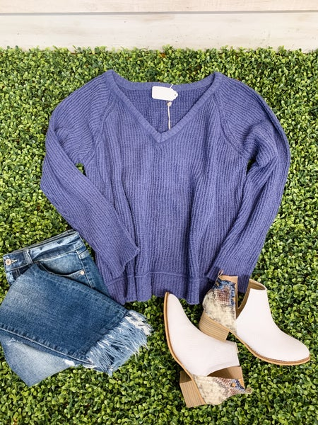 Midnight Blue V Neck Sweater
