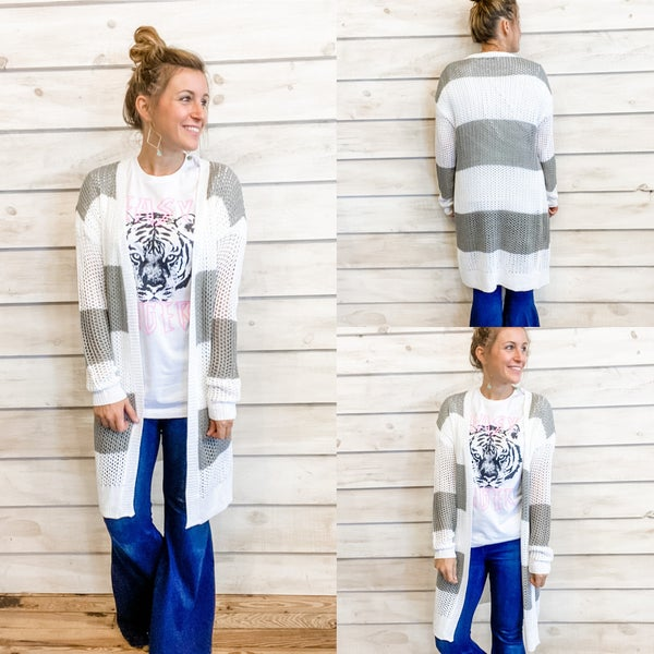Grey and White Striped Open Knit Cardigan
