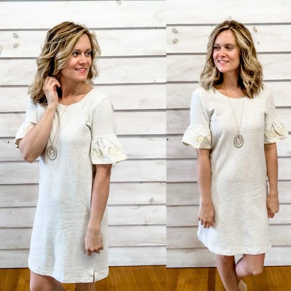 Grey Textured Crochet Sleeve Dress
