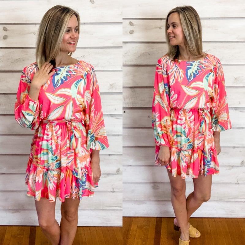 Pink Print Ruffle Bottom Dress