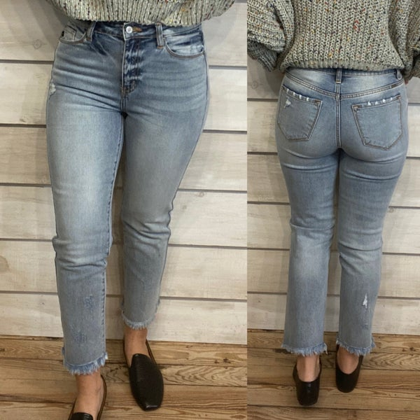 Light Wash High Rise Mom Jeans with Frayed Hem