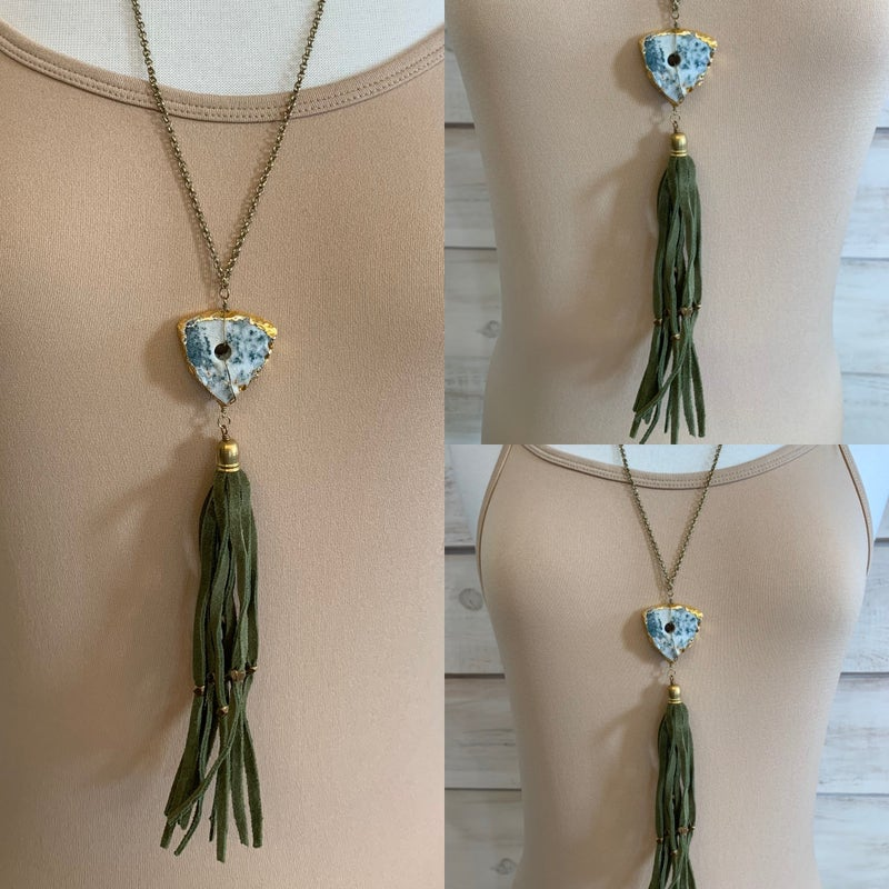 Olive Green Suede Tassel Necklace