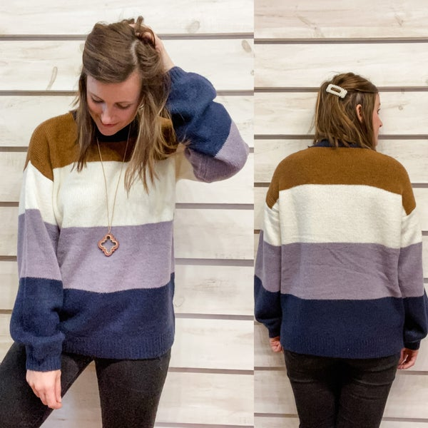 Navy Color Block Sweater *Final Sale*