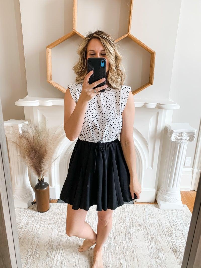 Black Dot Ruffle Dress