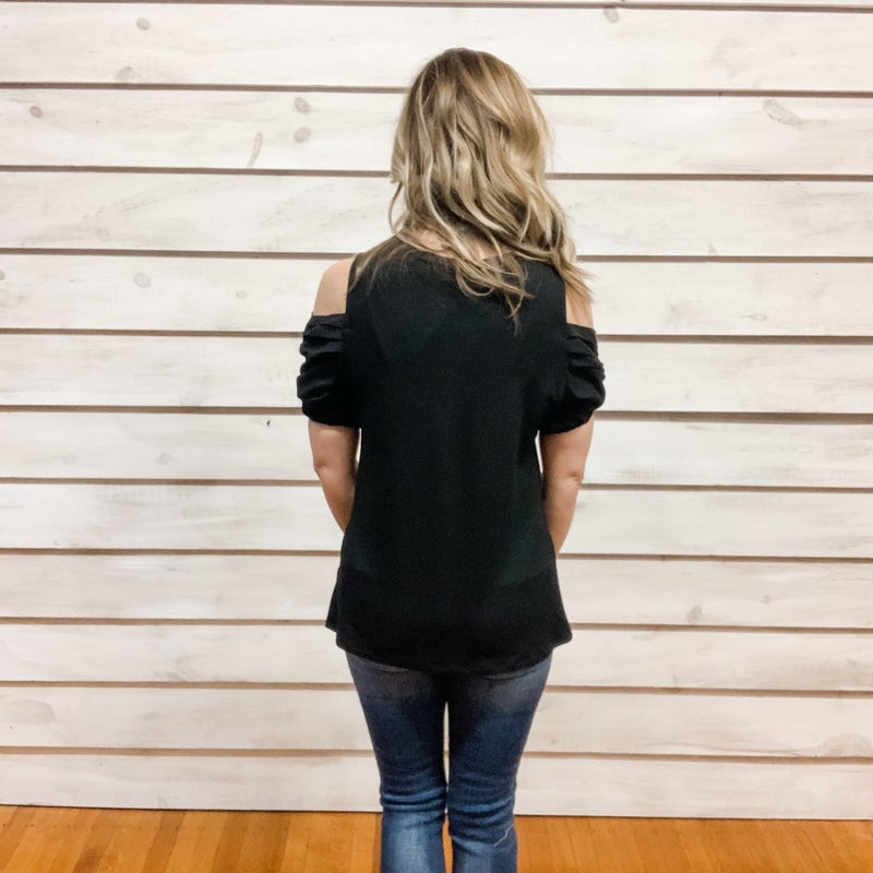 Black Puff Cold Shoulder Top